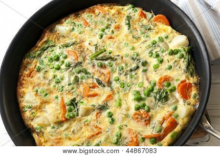 Frittata cooking in frypan.  Delicious vegetarian cuisine.