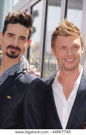 LOS ANGELES - APR 22:  Kevin Richardson, Nick Carter at the ceremony for the