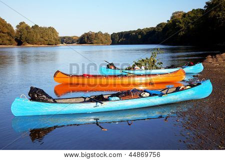 Canoeing on Mures River, Romania, Europe