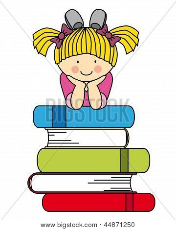 Little girl with many books