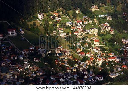 Aerial view of Prahova Valley, Romania, Europe