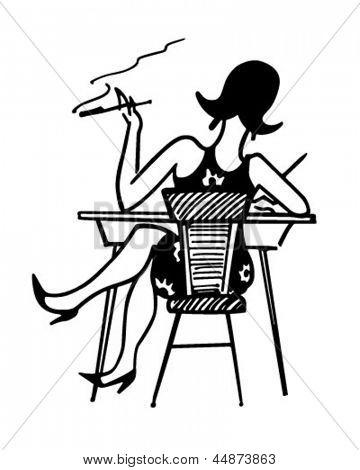GAL arbeiten an Schreibtisch - Retro ClipArt Illustration