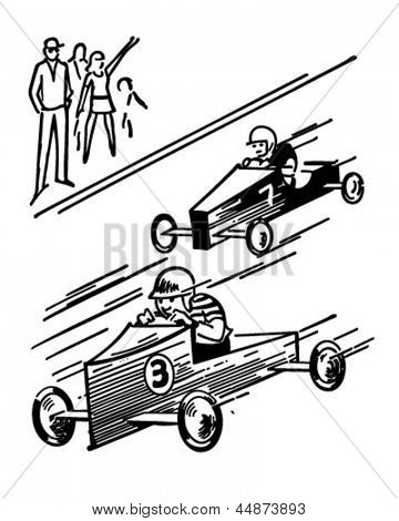 Soap Box Derby - Retro Clip Art Illustration