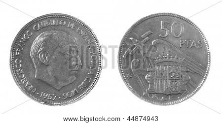 1957 Franco era Spanish 50 Pesetas coin isolated on white
