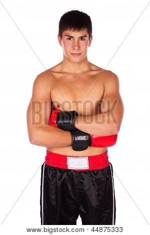 Junge männliche Kickboxer