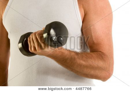 Man In Casual Wife-bitter A-top Work Out Dumbbell