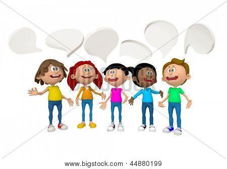 Grupo 3D de personas hablando - aislado sobre fondo blanco