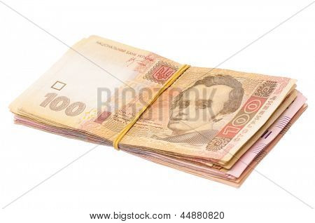 Pile of ukrainian hryvna, isolated on white background