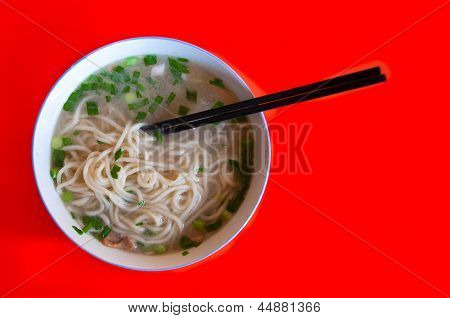 Bowl of simple wheat noodles, Beijing, China