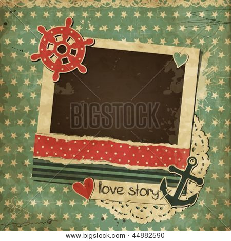 Vintage scrap nautical card with photo frame, scrapbook template