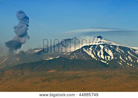 Ash Eruption At The Etna Vulcano