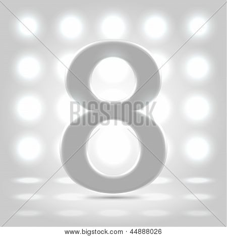 8 Over Lighted Background