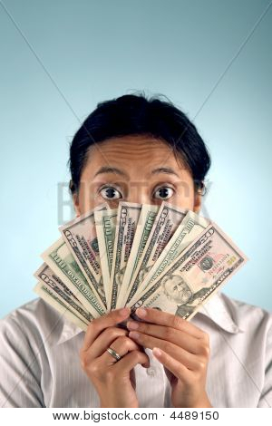 Shocked Woman With Money
