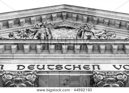 Close Up On The Facade Of The Reichstag In Berlin