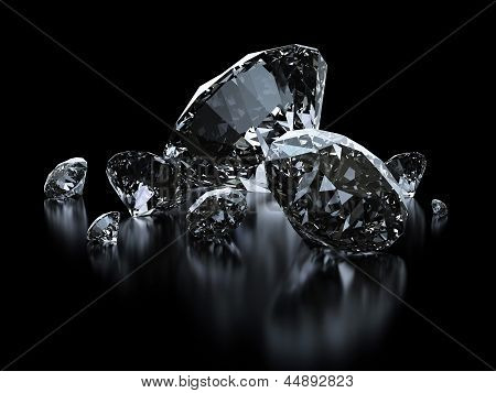 Luxury Diamonds On Black Background