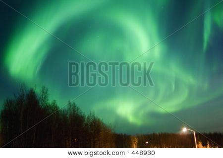 Round Aurora Over Townlights