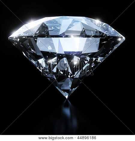 Shiny diamond isolated on black