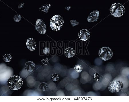 Falling 3D diamonds