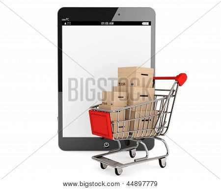 Shopping Cart With Boxes Near Tablet Pc