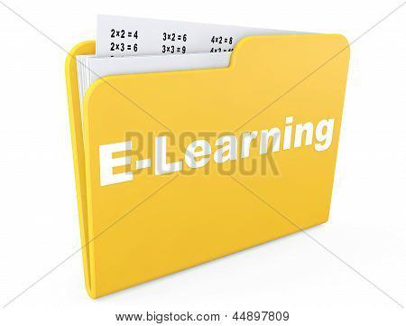 E-learning Concept. Yellow Folder With Papers