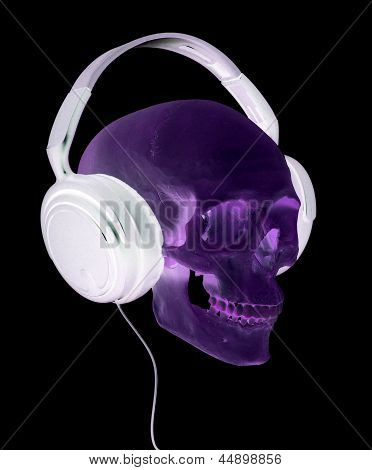 Spooky Cranium With Headphones