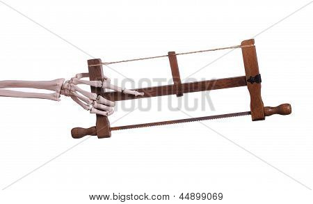 Skeleton Hand Holding Wooden Saw