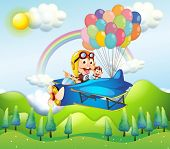 image of float-plane  - Illustration of the two monkeys riding in a plane with colorful balloons - JPG