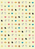 Merry Animals, Flowers And Heart poster
