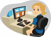 pic of clip-art staff  - Illustration of a Girl working as Airport Check - JPG