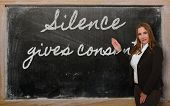 Teacher Showing Silence Gives Consent On Blackboard