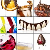 Tasty Desserts And Fresh Drinks Collage