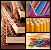 Colorful collage of school or office supplies - includes macro images of spiral bound notebooks, fol