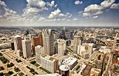 picture of highrises  - Aerial view of abandoned downtown of Detroit - JPG
