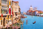 image of gondola  - Scenic Grand Canal view from Accademia Bridge - JPG