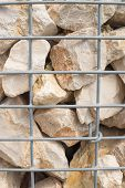 pic of rip-rap  - Gabion retaining wall rocks held together with wire - JPG
