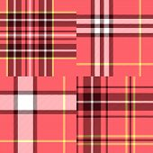 Abstract geometric tartan fabric seamless pattern in pink, vector