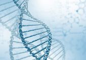 picture of gene  - Digital illustration of dna structure on colour background - JPG