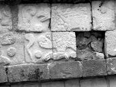 image of conquistadors  - Mayan glyphs on the walls at Chichen Itza in Yucatan Mexico Eagle - JPG