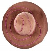 Top View Of Brown Broad-brim Felt Hat