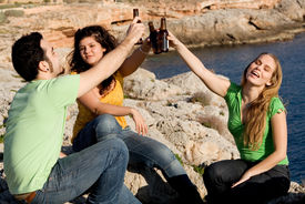 image of underage  - group of underage kids youth teens students drinking alcohol - JPG