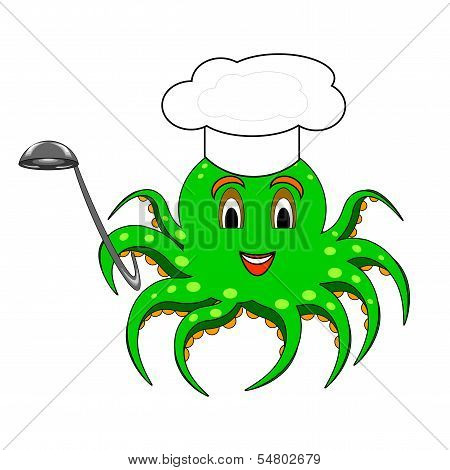 A Funny Cartoon Octopus With A Chef Hat And A Soup Ladle