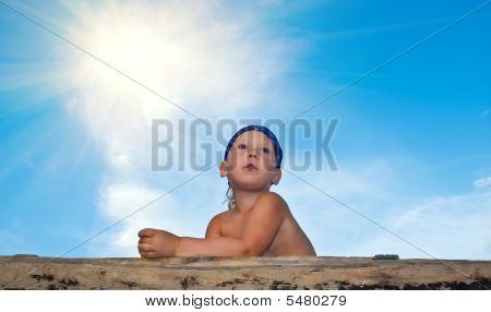 The Boy Against The Blue Sky In Expectation Of Something