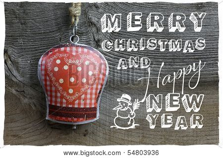 Merry Christmas Message Decoration Gingham Heart Pattern Tin Bell