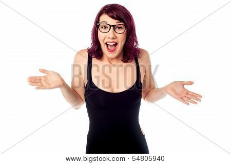 Surprised Bespectacled Pretty Teen