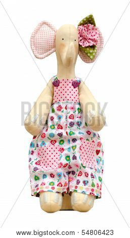 Hand Made Soft Toy Elephant Isolated In A Jumpsuit
