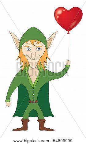 Elf with heart balloon