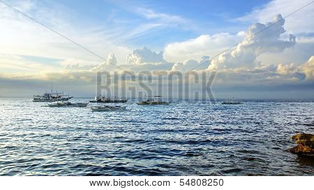 Seascape with boats. Apo island, Philippines