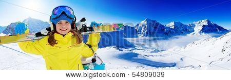 Skiing, winter fun, ski billboard -  lovely skier girl enjoying ski holiday