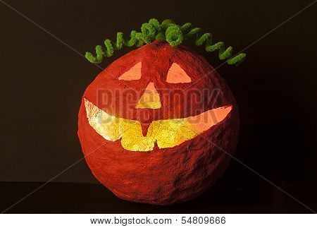 Halloween pumpkin with green hair decor