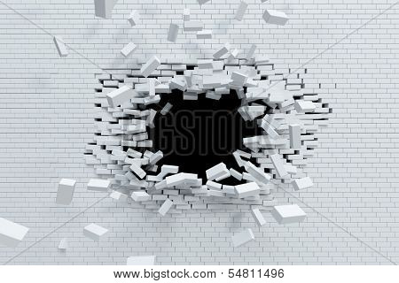 breaking brick wall, high resolution 3d rendering